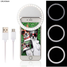 Girlwoman Selfie LED Ring Light Camera Flash Selfie Lamp Mobile Phone