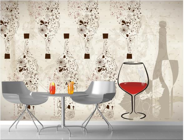Custom Mural Creative Retro Red Wine Bottle Gl Beautifully Decorated Kitchen Wallpaper