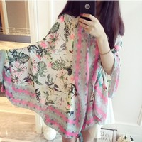 Women Beach Towel Tunic Fluorescent Pink Flower Coconut Mask Wind Luxury Shawl Scarf Gifts New Year
