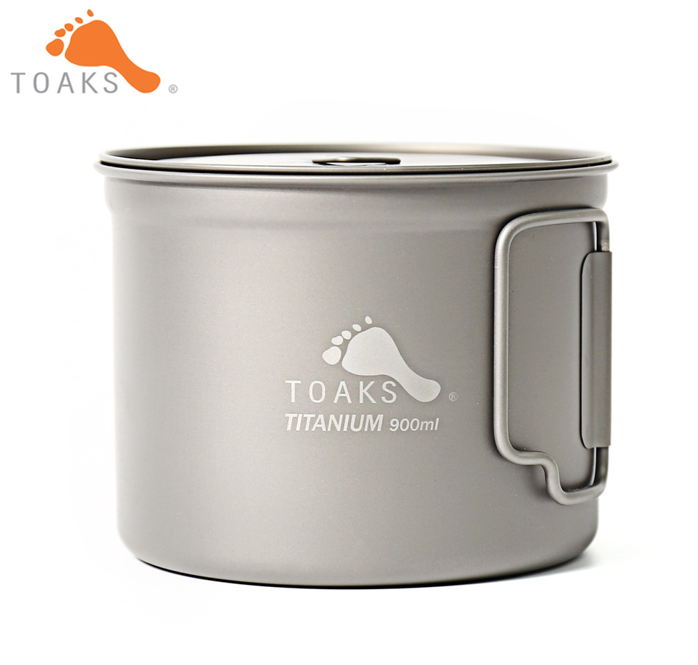 TOAKS POT 900 D115 Pure Titanium Cup Ultralight Outdoor Mug with Lid and Foldable Handle Camping