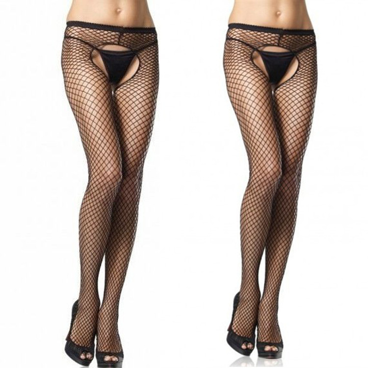 KL503 Women sexy open crotch stockings collant sexy femme fantaisie mesh pantyhose fishnet tights hosiery