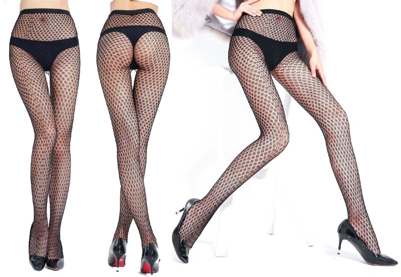 08b9d558d76 Women Sexy Transparent Slim Fishnet Pantyhose Club Party Net Holes Black  Tights Thigh High Stockings Small Middle Big Mesh S09-in Stockings from  Underwear ...