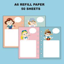 Colorful Cartoon Refill Paper Pack For Spiral A6 Journal Book 50 Sheets
