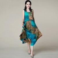 Распечатать шелковое платье 2105/100% натуральный шелк женское платье/эксклюзивной Desigual новые летние Платья для вечеринок/S, M l, XL, XXL