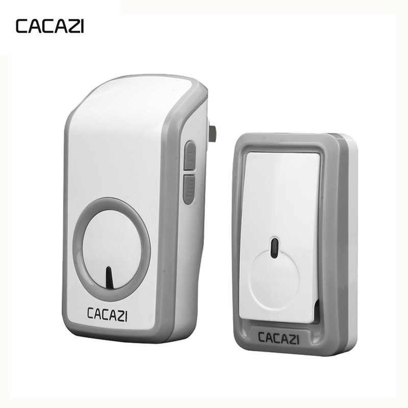 CACAZI Wireless Doorbell Waterproof Battery Button 350M Remote LED Light Home Cordless Call Bell EU Plug 48 Chimes 6 Volume cacazi wireless doorbell waterproof 350m remote 3 battery button 3 receivers 48 chime 6 volume eu plug home cordless bell
