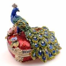 Pauw Trinket Sieraden Doos Dier Beeldje Faberge Russische Vintage Decoratie Metalen Ambachten Tafelblad