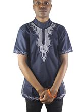 Africa Ethnic Both Side Embroidery Men`s Dashiki Tops Mandarin Collar Folk Shirts for Wedding