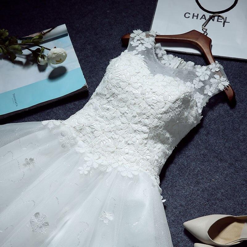 Cheap appliques white short lace wedding dresses ball gown tank ...