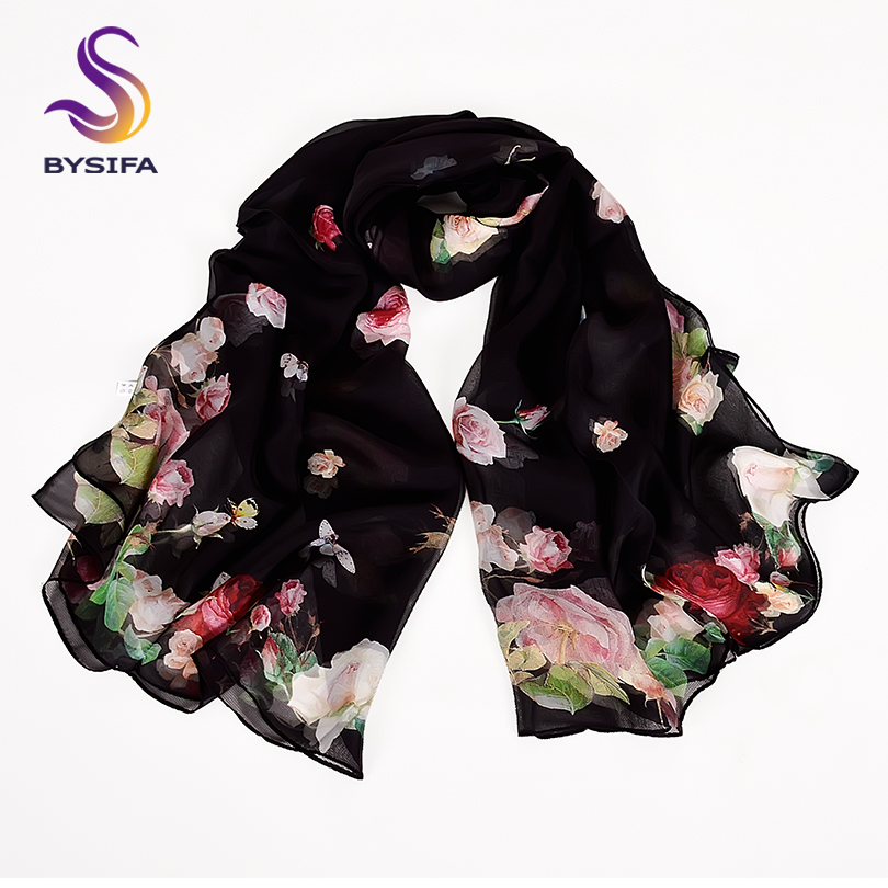 [BYSIFA] Black Roses Silk Scarf Shawl Women Spring Autumn Floral Design Long Scarves 2018 New Brand 100% Scarf Foulard 180*110cm