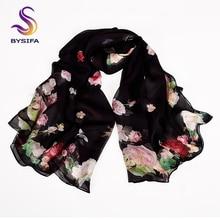 [BYSIFA] Black Roses Silk Scarf Shawl Women Spring Autumn Floral Design Long Scarves 2018 New Brand 100% Foulard 180*110cm