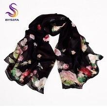 [BYSIFA] 검은 장미 실크 스카프 목도리 여성 봄 가을 꽃 디자인 긴 스카프 2018 새로운 브랜드 100% 스카프 풀라 180*110cm