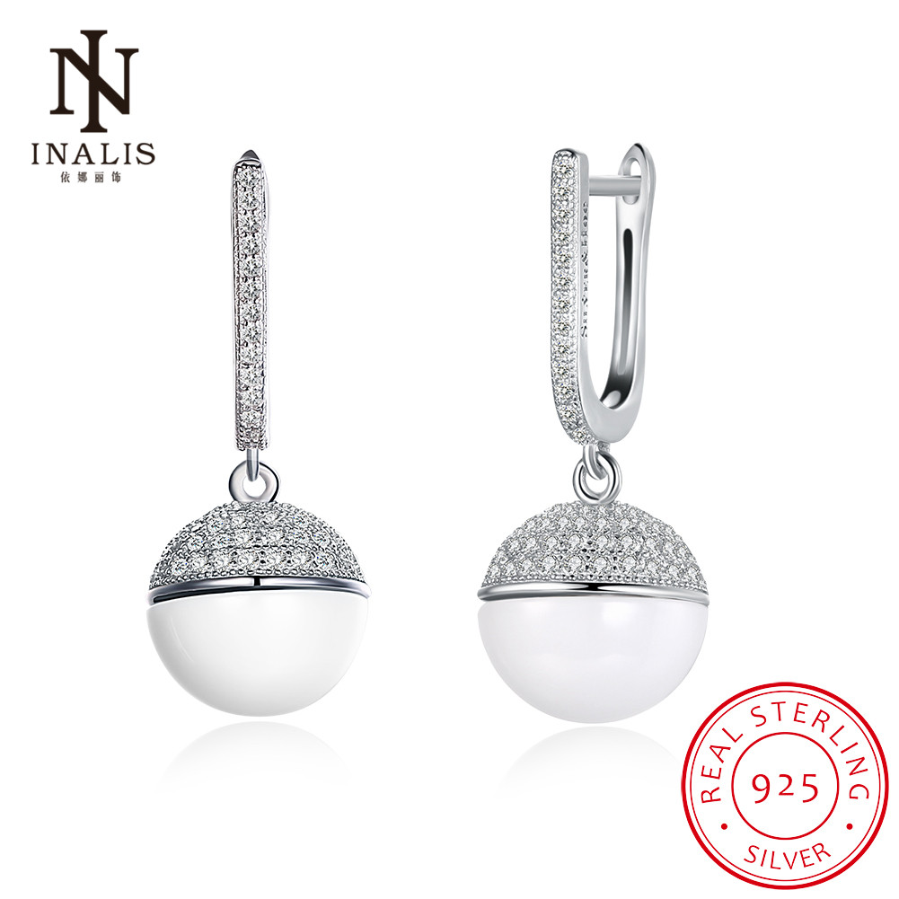 INALIS 925 Sterling Silver Ball Ceramic Luxury Dangle Female Earrings Fashion Jewelry Accessories for Women Gift