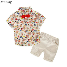 Niosung 1Set 2016 Summer Children Baby Boys Cotton Blend Short Sleeve T-shirts+Shorts Pants Outfits Kids 2PCS Clothing Suit v