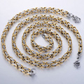 CUSTOMIZE SIZE 5mm Byzantine Box JEWELRY SET Silver Tone Stainless Steel Necklace Bracelet Chain Mens Chain Wholesale  KS21