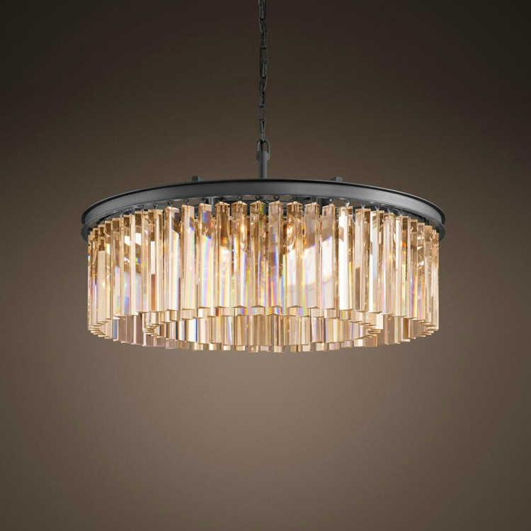 Роскошная прозрачная Подвесная лампа, круглая люстра с кристаллами, лампа с каплями для гостиной, столовой, ресторана, кафе
