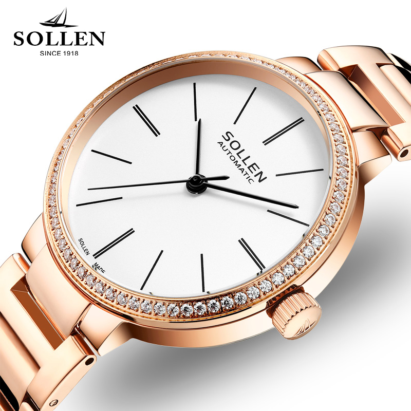 SOLLEN Brand Women Watches Mechanical Watch Lady Simple Design Leather Band Ladies Waterproof Casual Clock Relogio Feminino shenhua brand women watches skeleton mechanical watch white leather band ladies simple fashion casual clock relogio femininos