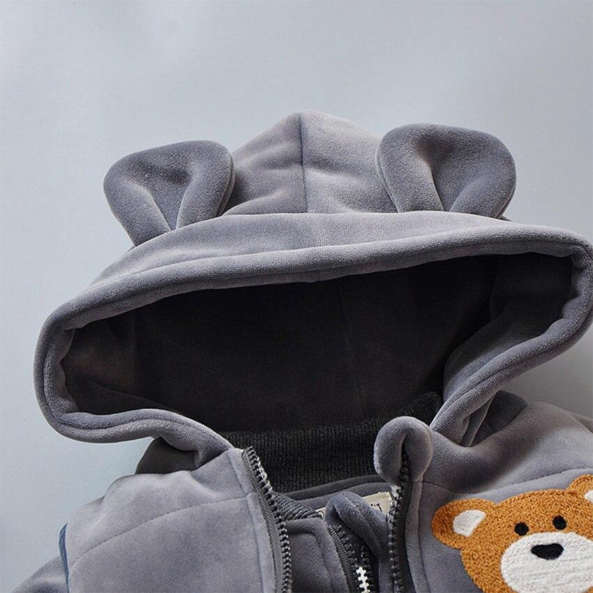 Automne Hiver Chaud Enfants Vêtements Ensembles Gilet + Pull À Capuche + Pantalon Enfants Épaissir Costume 3 pièces Velours Garçons Filles Costume de Dessin Animé - 2
