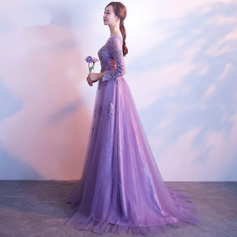 Paars prom dresses 2018 tule met kant geappliceerd a-lijn avondfeest - Jurken voor bijzondere gelegenheden - Foto 3