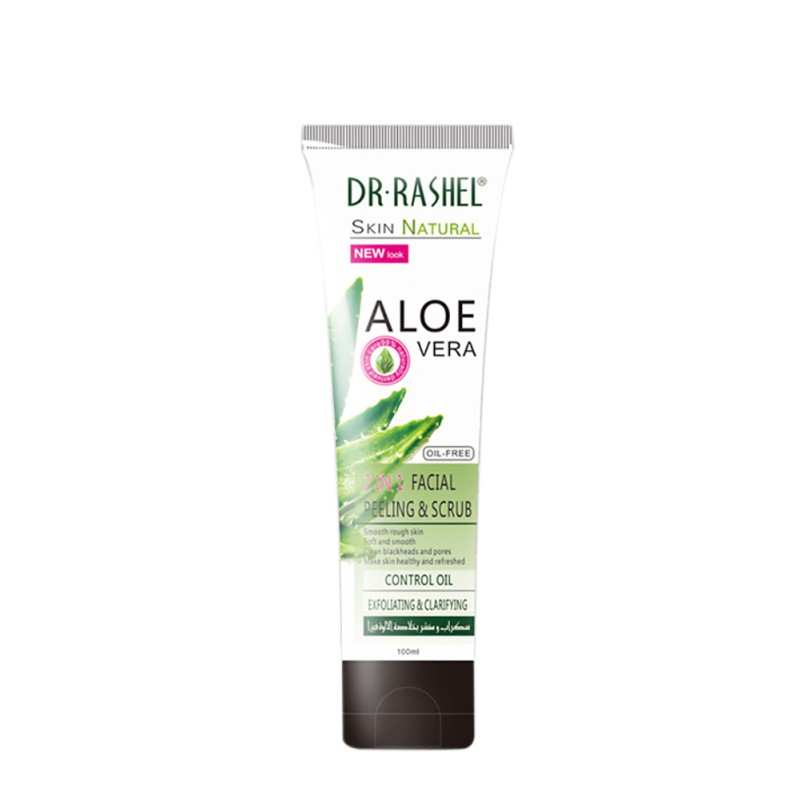 Aloe Vera 2 in 1 Facial Peeling Scrub Exfoliating Gel Soft Smooth Blackhead Pore Cleaning Oil Control 100 ml