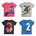 Números da sorte 2017 Meninos Roupas de Verão 100% Algodão Criança Crianças Roupas Crianças T-Shirt de Manga Curta t Camisas Meninos Blusa