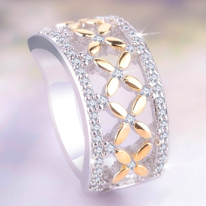 Top Quality Hollow Yellow Golden Cross Flower Finger Rings For Women Ladies Clear Cubic Zirconia Midi Engagement Ball Lady Rings