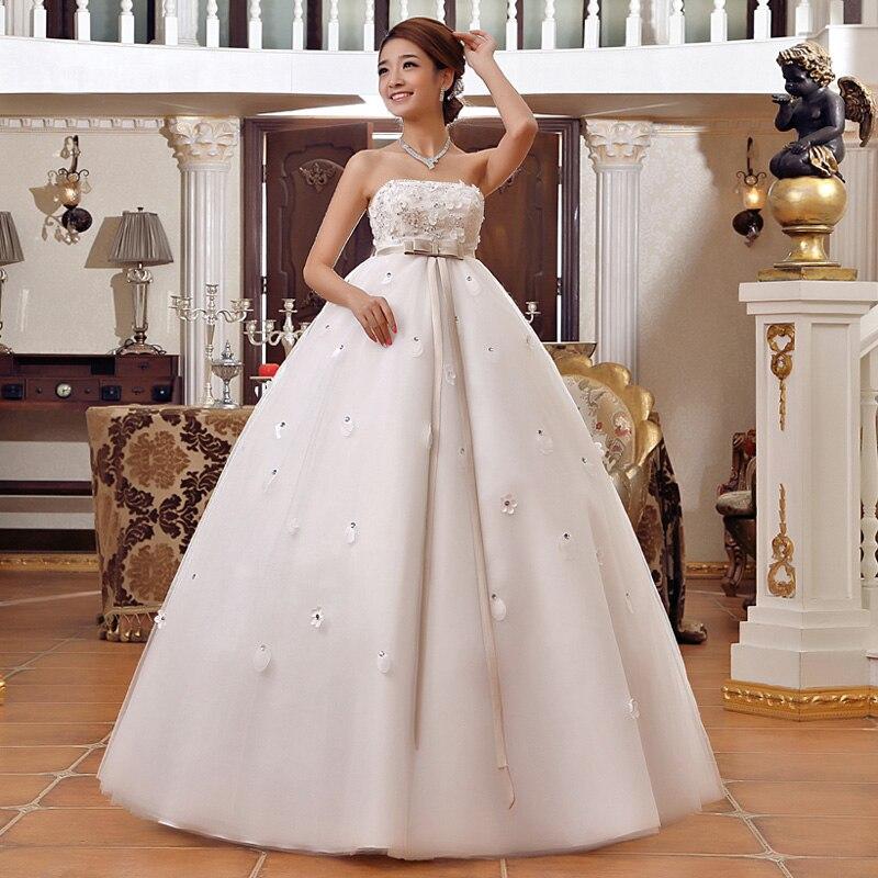 Korean plus size pregnant woman Strapless Cheap Lace Appliques Wedding Gowns A-line Bridal Dresses Lace Up Robe De Marier