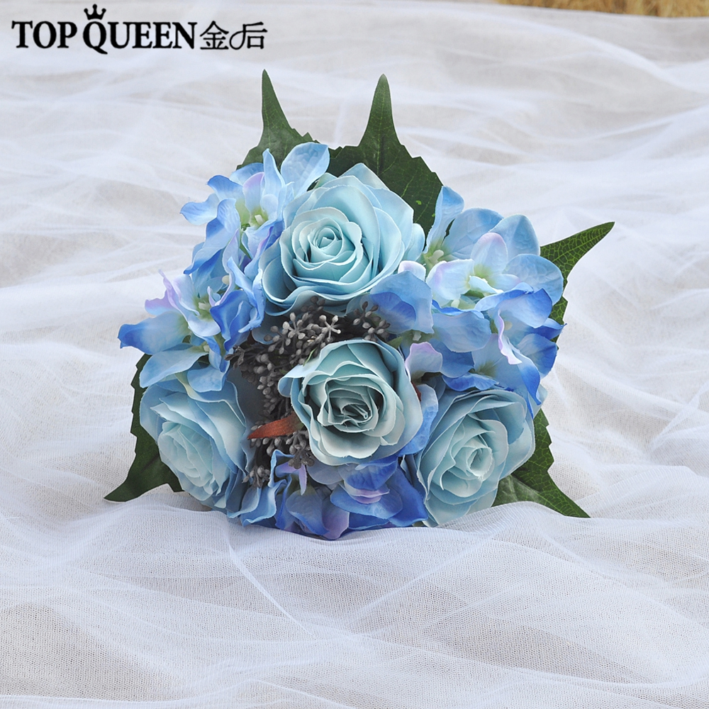 Kyunovia Wedding Flowers Bridal Bouquet Blue Color Roses Bouquet
