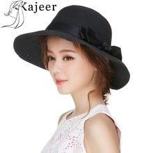 eb319bc2be9b1 Kajeer Fedora sombreros para las mujeres Iglesia papel paja acento del arco  cinta cubo Cloche campana sol del verano nuevas muje.
