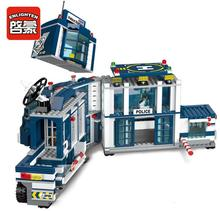 Просвещения 2017 новых 951 шт. города серии мобильных полицейский участок модель вертолета Playmobil строительные блоки кирпичи игрушки для детей