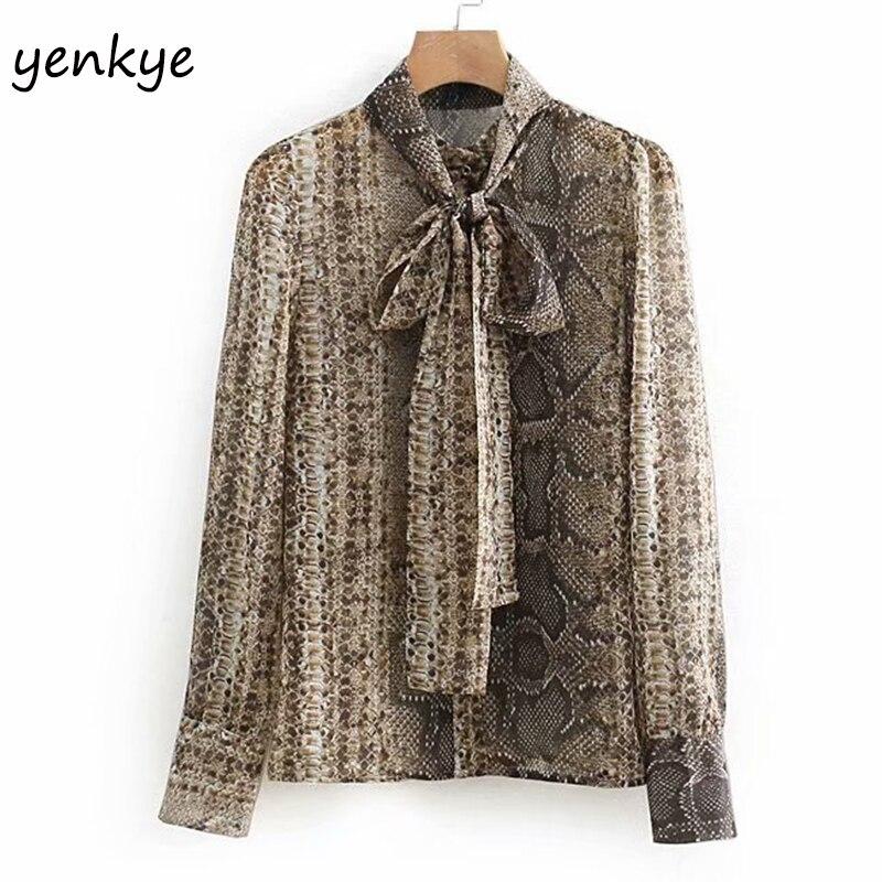 0c0e6b53 2019 Women Elegant Bow Tie High Collar Vintage Snake Print Blouse Flowy  Long Sleeve Semi-