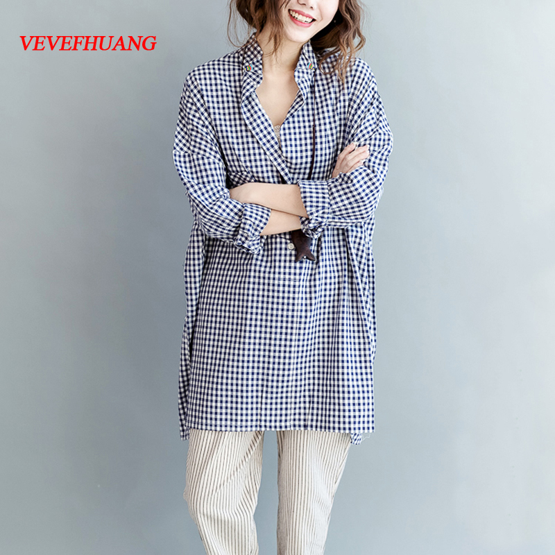 Plus Size Women Shirts Vintage Long Plaid Shirt Spring 2018 Casual Loose Big Size Blouse Camisas Feminina