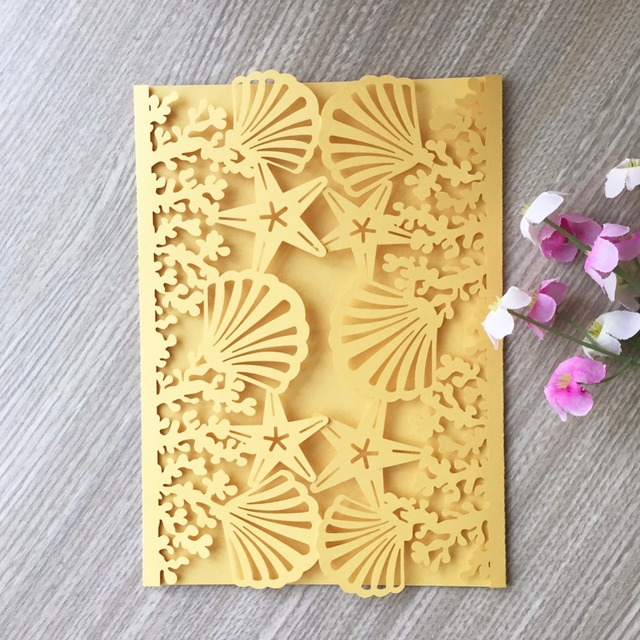 50pcs Beach Theme Starfish Shell Design Glossy Shiny Paper Card Postcards Wedding Birthday Party Invitation Cards
