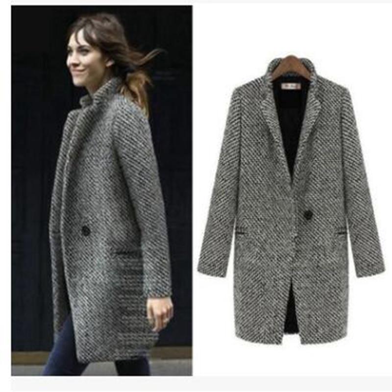 Brieuces Őszi téli ruha Női 2019 formális gyapjú dzsekik Work - Női ruházat