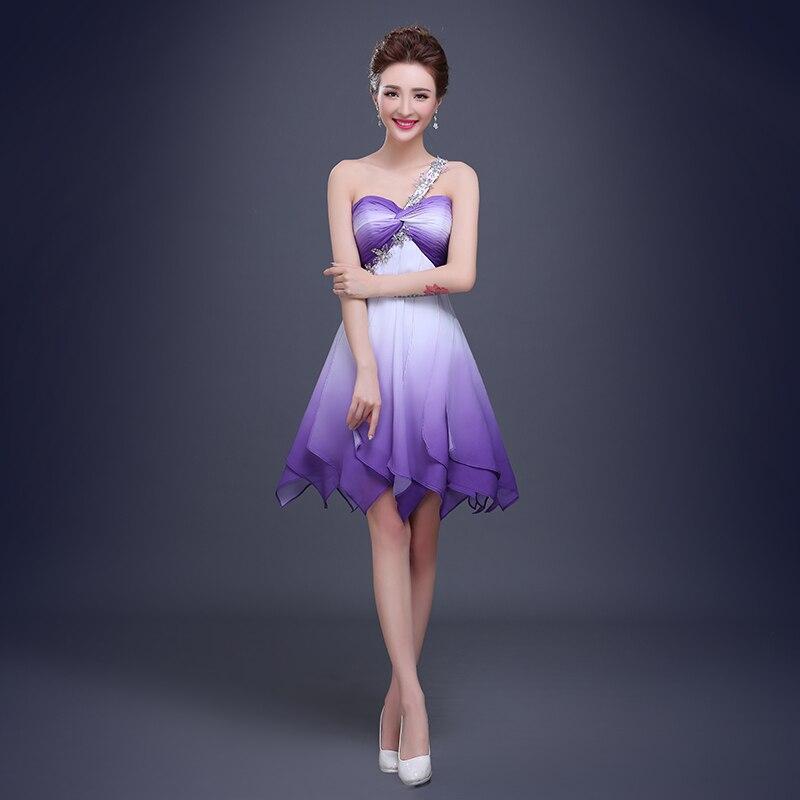 Ombre corto atractivo vestido de fiesta de un hombro que rebordea ...