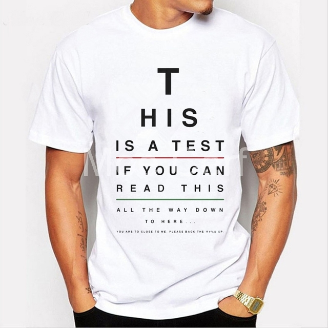 This Is A Test Eye Chart Print T Shirt Summer Short Sleeve O Neck T