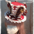 DIY Alice in Wonderland Inspired Rabbit Ear Lolita Cosplay Mini Top Hat White & Red