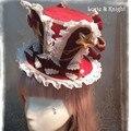 DIY Alice no País Das Maravilhas Inspirou Orelha de Coelho Lolita Cosplay Mini Top Hat White & Red