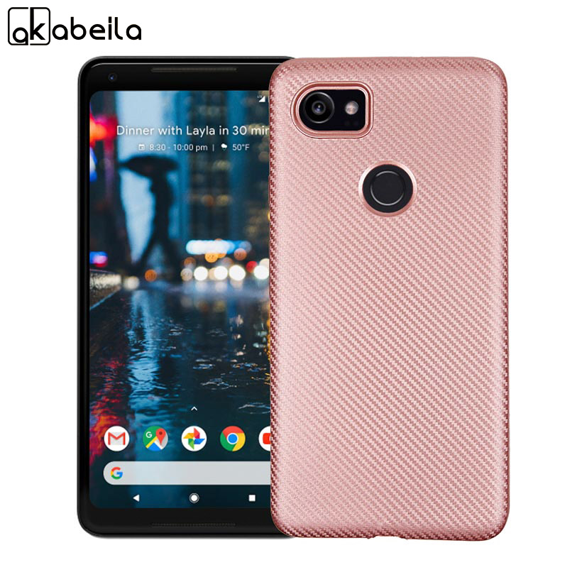 new product 82559 34221 Cases For HTC Pixel XL 2 Google Pixel XL2 Case Carbon Fiber Soft TPU Back  Covers Bags Shell Skin Hood Housing Rose Gold