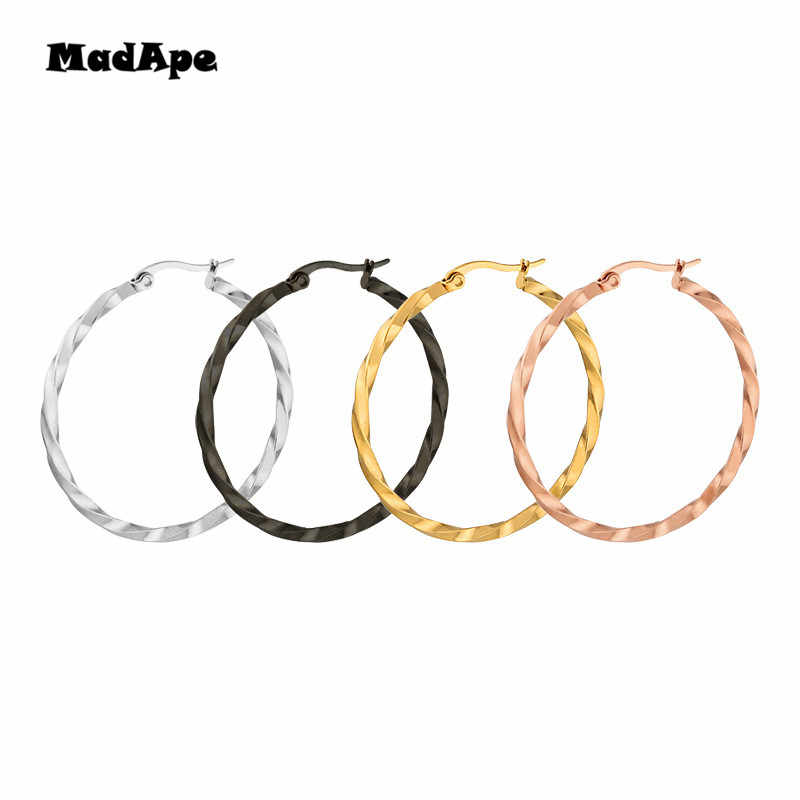 MadApe Gold/Black/Silver/Rose Gold Color Round Creole Earrings Stainless Steel Big Round Female Hoop Earrings For Women & Men