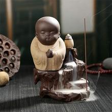 Buddha Handwerk Chinesischen Stil Ruhe Wenig Mönch Keramik Weihrauch Aromatherapie Stick Räuchergefäß Hause Dekoration