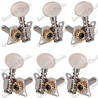 Een Set 6 Stks Zilveren Open Gear Akoestische Gitaar String Stemsleutels Machine Heads Tuners Met Wit Kleine Ovale Knop