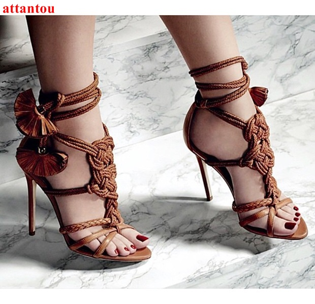 все цены на Summer charming rope tie up braided strap party shoes stylish design brown women sandals vintage high heels for elegant lady