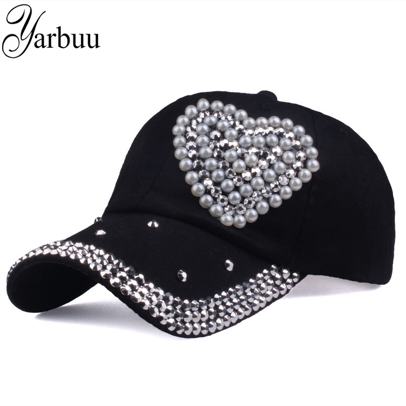 [YARBUU] new fashion high quality baseball caps Rhinestone Semicircle Pearl cap hat for women Love style snapback hats female 50pcs cheap heather slouch beanie caps mens winter knitting baggy skull hats women knitted beanies new oversized skullies cap