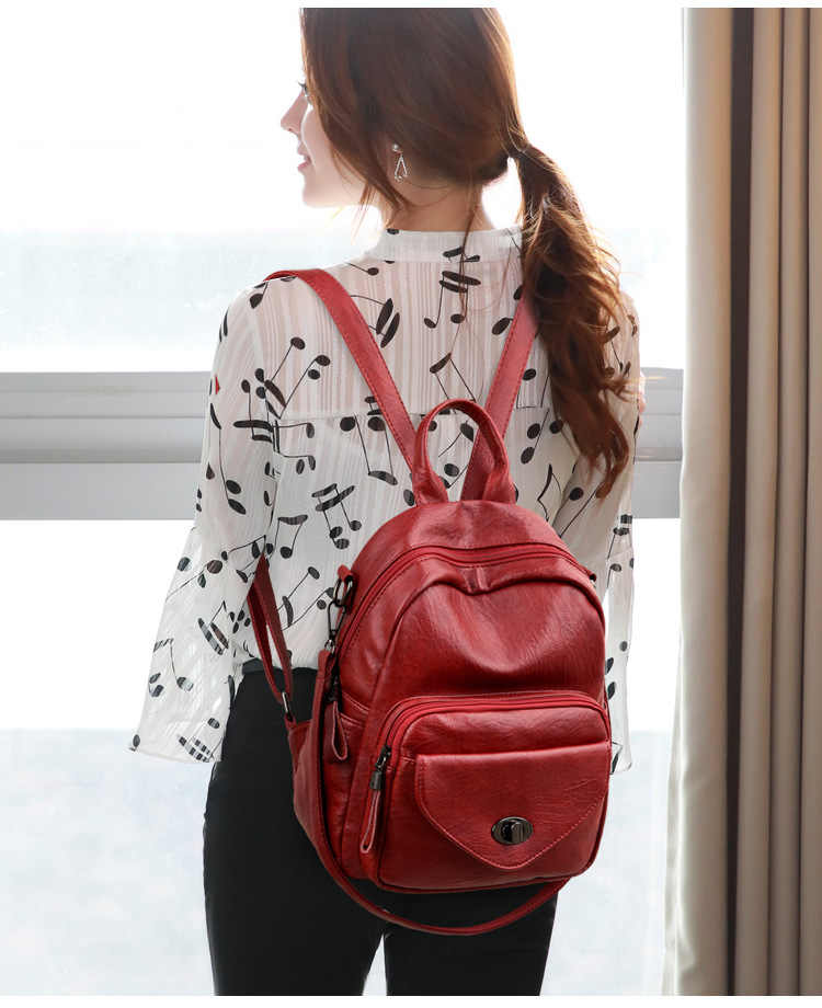 Real Genuine Cow Leather Women Backpack Lady Top Layer Cowhide Book Bag Mochila School Bags for Teenage Girls Daypacks New C1098