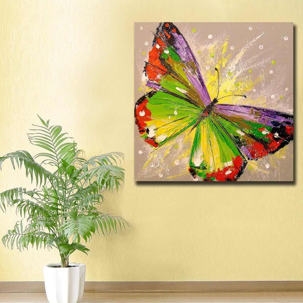 Картина на холсте стены искусства гостиной печать 1 шт. красочные узоры с бабочками животное абстрактный граффити плакат домашний Декор Рамка