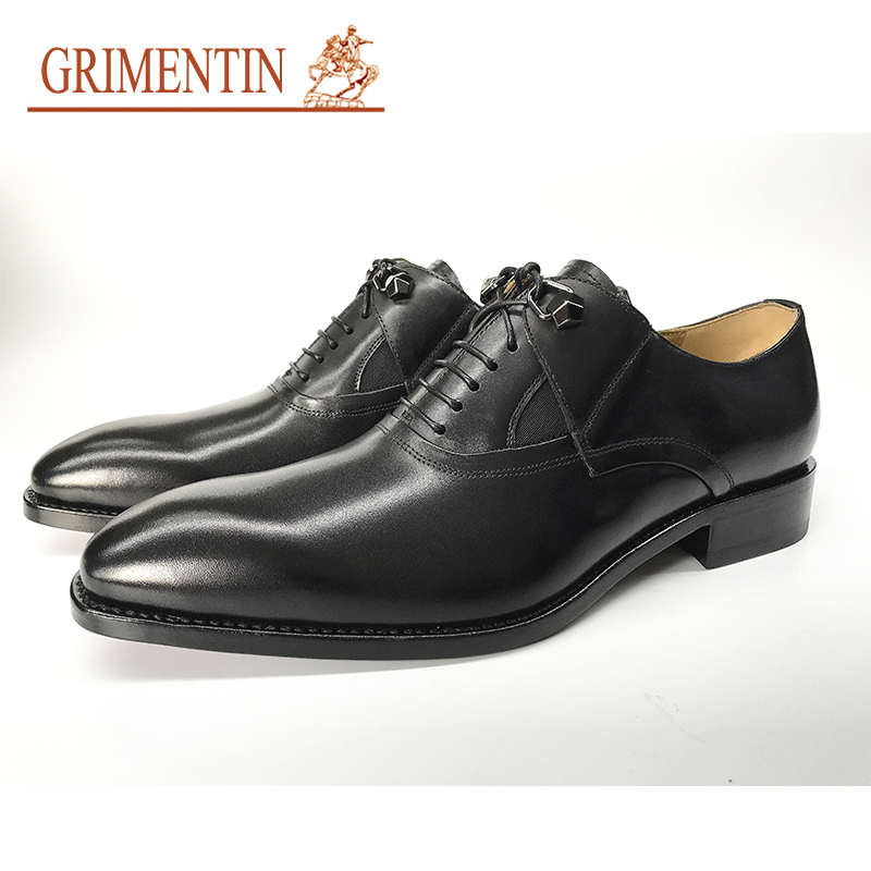 GRIMENTIN 2017 brand genuine leather black mens dress shoes high quality Italy designer wedding male shoes size:38-44 top quality crocodile grain black oxfords mens dress shoes genuine leather business shoes mens formal wedding shoes