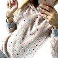 Venta caliente de Las Mujeres Hoodies 2016 Harajuku Colorido Dot Fleece Impreso Chándal Mujeres Sudadera Mujer Polerones
