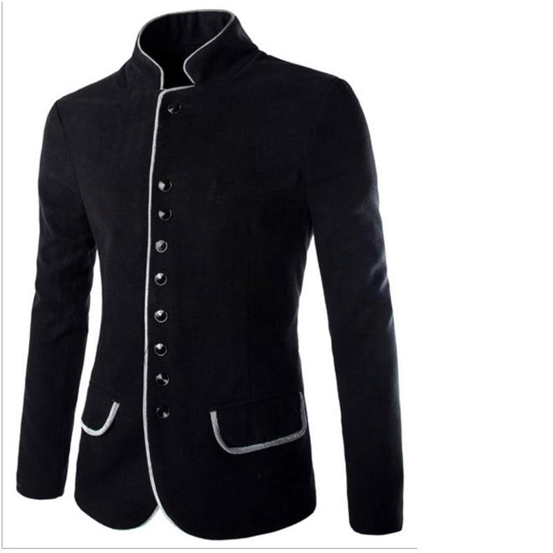 Stand Collar Coat Slim Fit Suit Button Jacket Overcoat Blazers  4