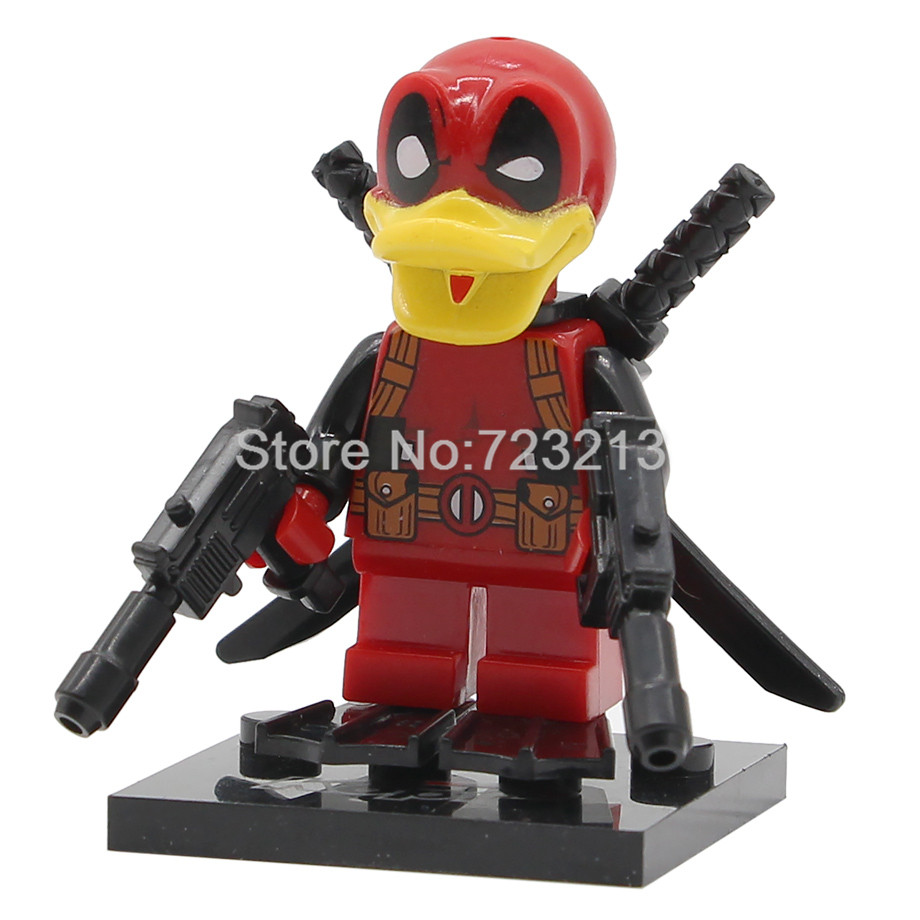Single Sale Deadpool Howard the duck Figure Super Hero Building Blocks Set Marvel Model Bricks Education Toys for Children