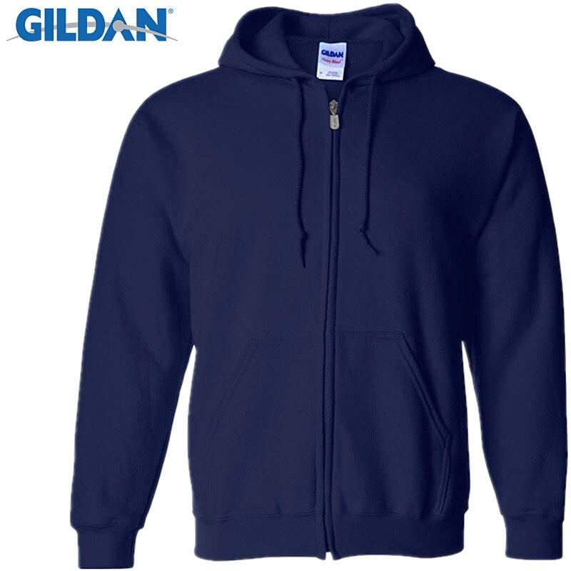 Gildan Men's Cardigan Hoodies Sweatshirts Brand Clothing Fashion Zip Hoodie Man Casual Slim Fit Pocket Sweatshirt Sportswear